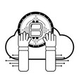 bitcoins hand holding black and white vector image vector image