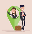 businessman or manager man and woman with map vector image vector image