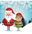 card santa elf landscape snowflake design vector image vector image