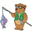 cartoon bear fisherman vector image