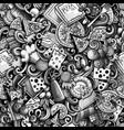 cartoon cute doodles hand drawn pizza seamless vector image