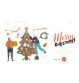 characters prepare for new year or xmas winter vector image vector image