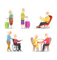 characters set of elderly peoples funny vector image