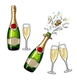 Closed open champagne bottle and glasses vector image vector image