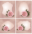 Collection of retro greeting cards with pink rose vector image vector image