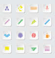 colorful flat icon set 8 on white rounded rectangl vector image