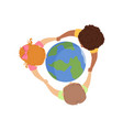 cute little kids holding hands around the globe vector image vector image