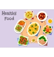 Diet menu icon with vegetable and meat dishes vector image vector image