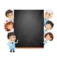 Doctors Presenting Empty Blackboard vector image vector image