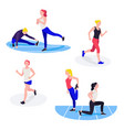fit women exercising young females athletes doing vector image vector image