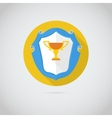 Flat icon with golden cup vector image