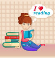 girl love reading concept background cartoon vector image