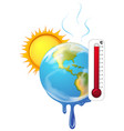 global warming with hot sun vector image vector image