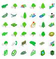 green icons set isometric style vector image vector image