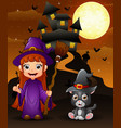 halloween background with boy witch holding brooms vector image