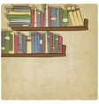 hand drawing bookshelf old background vector image vector image