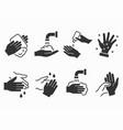 hand wash icons set black vector image vector image