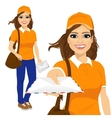 hispanic post woman in orange uniform vector image vector image
