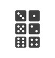 icons of the six sides of the game dice vector image vector image