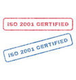 iso 2001 certified textile stamps vector image vector image