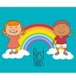 Kids friends celebration cartoon vector image