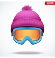 Knitted woolen cap with snow goggles Winter vector image vector image