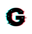 logo letter g glitch distortion vector image