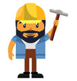 man with hammer on white background vector image vector image