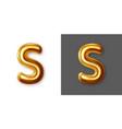 metallic gold alphabet letter symbol - s vector image