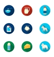 Milk set icons in flat style Big collection of vector image vector image
