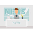 news anchorman in breaking and tv layout vector image vector image