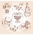Oriental sweets sketch set vector image