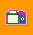 paper sticker on background of camera vector image vector image