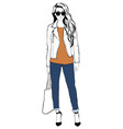 portrait of a fashion young beautiful stylish vector image vector image