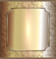 precious metal golden plate on patina vector image vector image