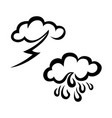 raining and storm weather sketch icon set vector image