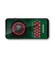 realistic casino roulette wheel with chips vector image vector image