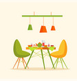 restaurant interior cakes and desserts dishes vector image