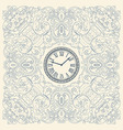 Retro card floral elements and watch vector image vector image