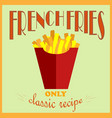 retro style poster french fries advertisement vector image