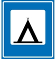 Road Blue Camping Sign vector image