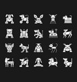 robot dog white silhouette icons set vector image vector image