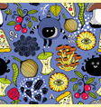 seamless pattern with cute monsters and food vector image vector image