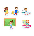 set children with studying tools and equipment vector image