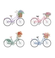 Set of bicycles with basket full of flowers vector image vector image
