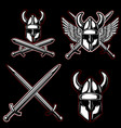 set of emblems with viking ancient weapon design vector image