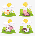 sheep pig cow chicken chicks clouds sun farm vector image