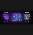 smart tv neon sign design template vector image