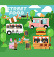 street food festival poster in flat style vector image