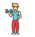 strong man doing exercises with weights in gym vector image vector image